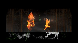 Fire sprites in the forest